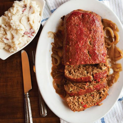 Meatloaf with Wild Mushroom Gravy and Caramelized Onion Sauce