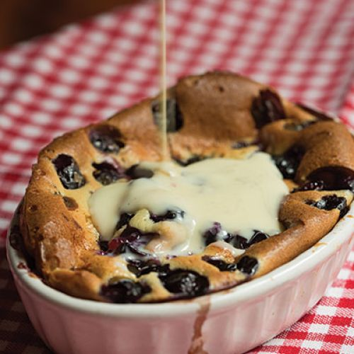 Individual Fresh-Berry Clafoutis with Crème Anglaise