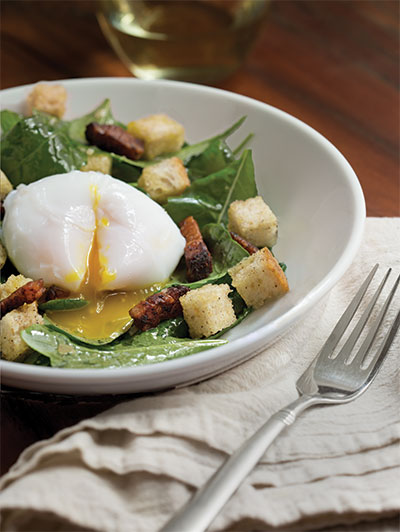 Poached Duck Eggs with Baby Mustard Greens, Lardons, Sourdough Croutons and Shallot-Mustard Vinaigrette
