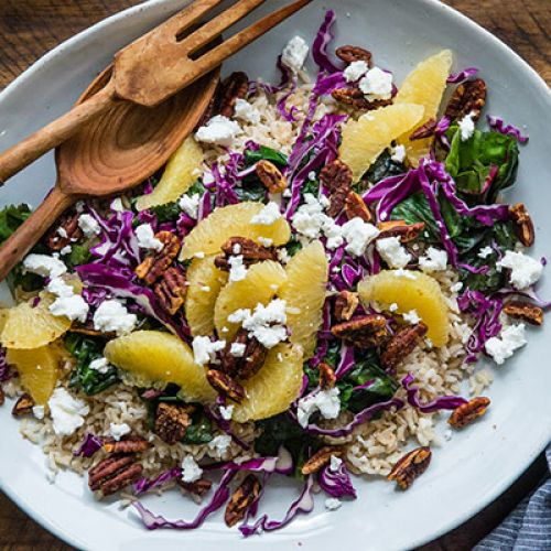 Cabbage, Chard and Pesto-Rice Salad with Citrus, Spiced Pecans, Feta and Honey-Balsamic Dressing