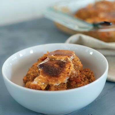 Candied Texas Yam and Smoked Apple Casserole with Toasted Mesquite Marshmallows