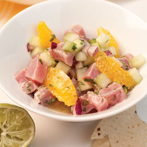 Ceviche with Tuna, Cucumber and Orange