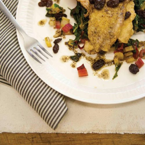 Flounder with Chard and Raisins