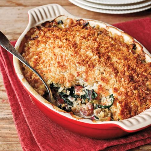 Oyster-Swiss Chard Gratin with Country Bacon