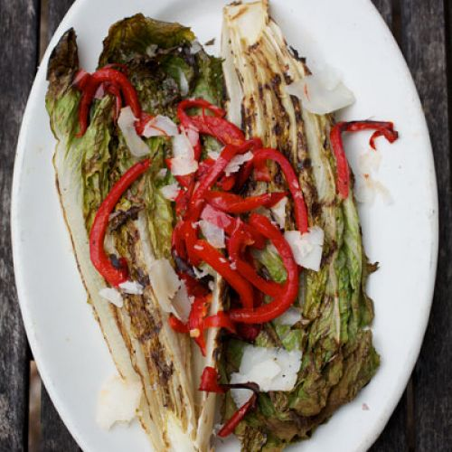 Salad of Grilled Romaine, Red Peppers & Manchego Cheese with Sherry Vinaigrette