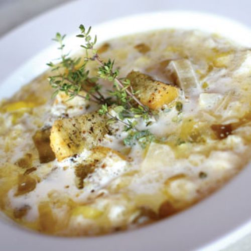 Soupe des Ardennes (with thyme and homemade croutons)