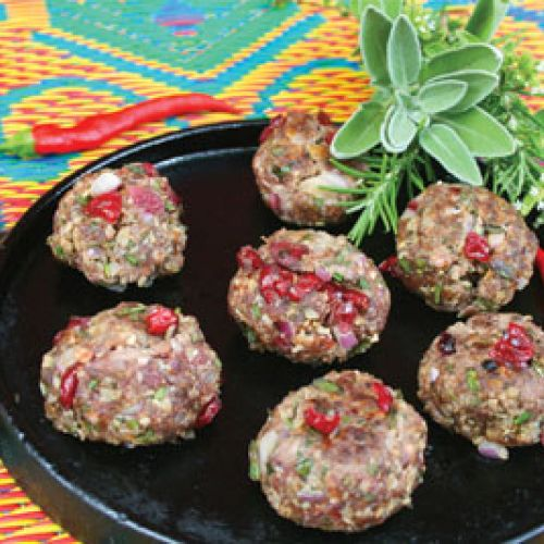 Spicy Bison Meatballs with Tequila-Spiked Cranberries