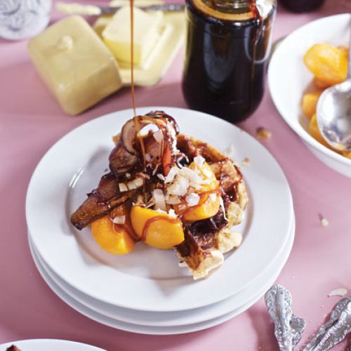 The Byres Family Toasted Coconut and Caramelized Banana Waffles