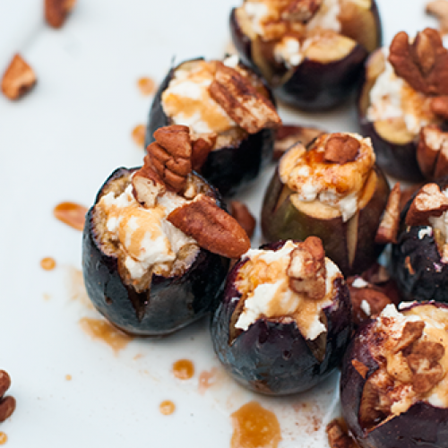 Baked Figs with Honey and Spiced Goat Cheese