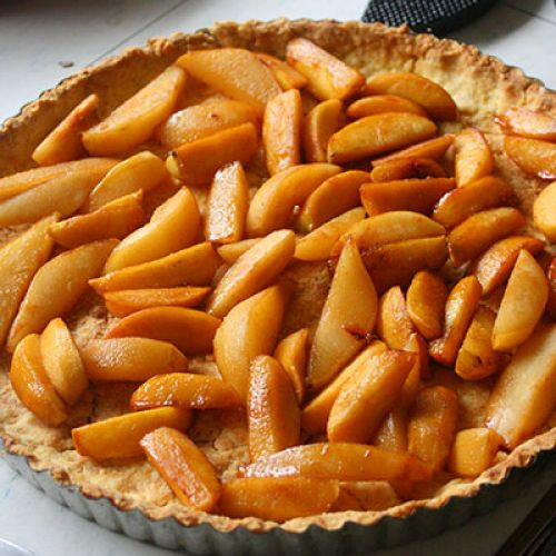 Apple and Pear Custard Tart with Cornmeal Crust