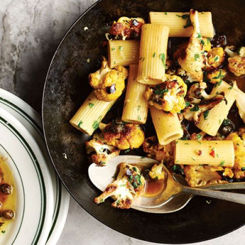 Rigatoni with Roasted Cauliflower and Crispy Capers