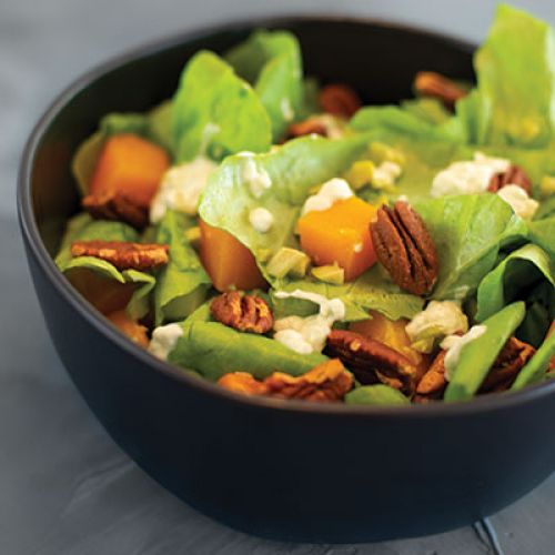 Roasted Butternut Squash Salad with Chili Pepper Chèvre, Candied Pecans and Tahini Dressing