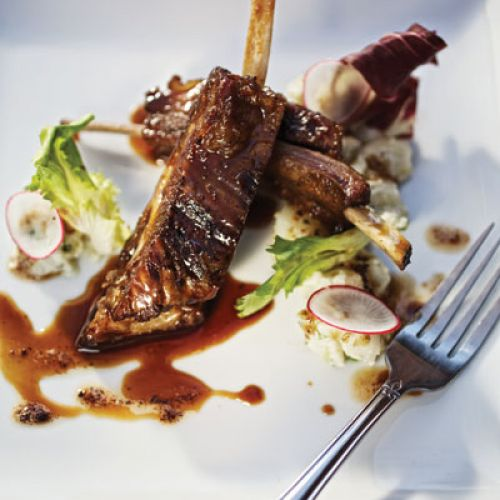 Balsamic-Glazed Goat Ribs with Brown-Butter Potato Salad and Chicories