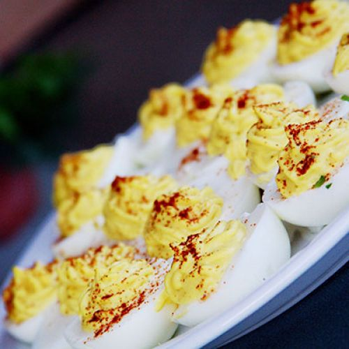 Danish Deviled Eggs with Curried Pickled Herring