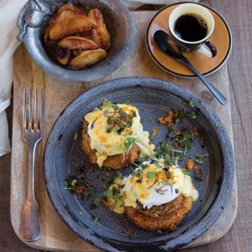 St. Charles Bay Crab Cakes and Poached Eggs on Fried Green Tomatoes with Orange-Ginger Hollandaise Sauce