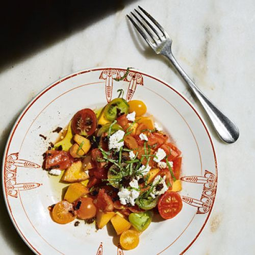 Texas Peach & Tomato Salad with Goat Cheese