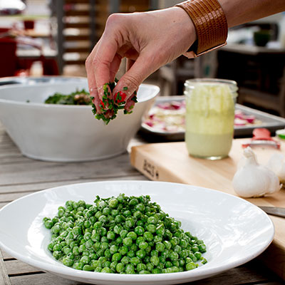 "Fresh Spring Peas with Chives and Minty ""Ranch"" Dressing"