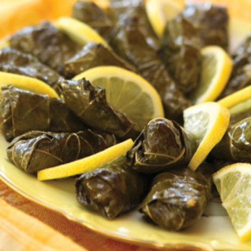 Yalanci Dolma (Grape Leaves Stuffed With Pine Nuts, Currants And Rice)
