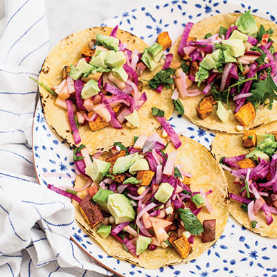 "Jeanine Donofrio's ""When Radish-Rich"" Sweet Potato Tacos with Apple-Radish Slaw"
