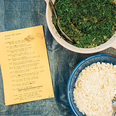 "David Moses Fruchter's ""We Are Like a Typewriter Rodeo!"" Spinach-Dill-Quinoa Salad"