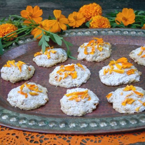 Day of the Dead Cornmeal Cookies Dusted with Cinnamon Sugar and Marigold Petals