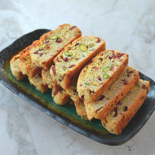 Pistachio-Cranberry White-Chocolate Biscotti