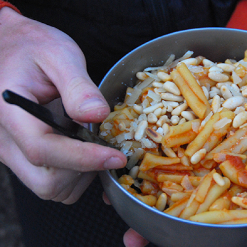 Pasta with Tomato Bell-Pepper Sauce, Toasted Pine Nuts and Parmesan Cheese On the Trail